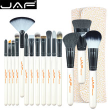 JAF Brand 15-piece Makeup Brushes Kit Multipurpose Super Soft Hair PU Leather Case Holder Make Up Brush Set