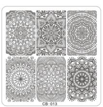 1PC !CB13 66*66MM 2017 Nail Lace Flowers Nail Art Hot Konad New Stamping Image Metal Plates Kit Set Mixed Designs Stamping