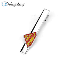 dongsheng Fashion Jewelry DC Comics Superman Cufflinks Letter S Logo Tie Clips Cufflinks Superhero Enamel Charm Clips For Men-40(China)