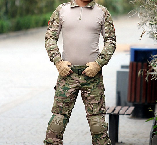 Camouflage military uniform us army combat shirt cargo multicam Airsoft paintball militar tactical clothing with knee pads<br><br>Aliexpress
