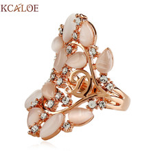 KCALOE Opal Engagement Rings For Women Fashion Letter D Crystal Rhinestone Natural Stone Hollow Long Ring Wedding Jewelry