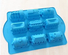 9-cavity Train Car Cake Mold Soap Silicone Mold Flexible Chocolate Mold