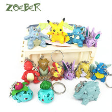 ZOEBER 13 PCS Sets Cartoon Pocket Monster Pikachu Key Chain Keyrings Toy Dolls Animal Anime Game Pokemon Keychain Christmas Gift(China)