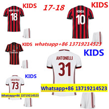 2017 HOT SALES 2018 BEST QUALITY KIDS KIT AC MILANES SOCCER JERSEY 17 18 HOME RED AWAY GRAY MEN SHIRT FREE SHIPPING(China)