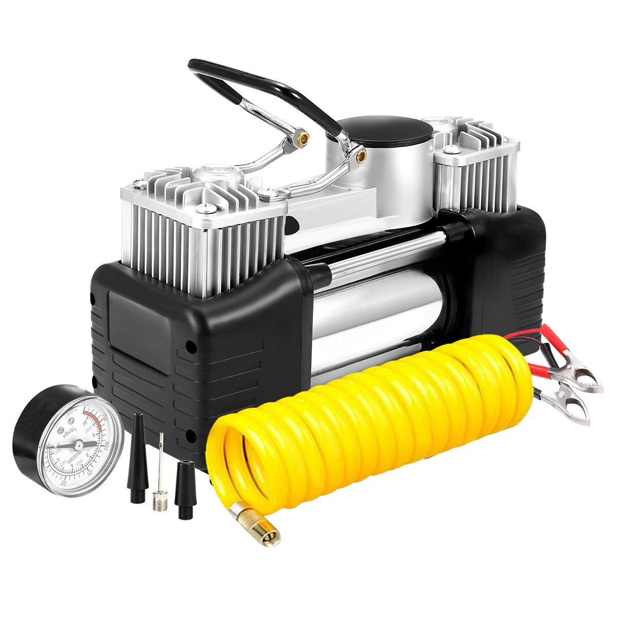 Heavy Duty Double Cylinders 12V Air Compressor Pump with LED Light for Auto,Truck,Car,Bicycles and Other Inflatables GSPSCN Portable Digital Car Tyre Inflator with Gauge 150Psi Auto Shut-Off