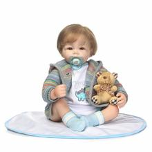 New 55cm Soft Silicone Reborn Baby Doll with Soft Body Reborn Babies Boy Doll Lifelike Baby Doll for Girls Xmas Holiday Gift(China)