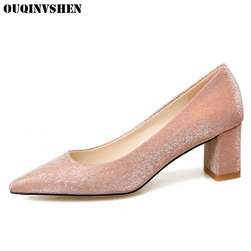 OUQINVSHEN Pointed Toe High Heels Women Pumps Casual Fashion Shallow Sequined Cloth Pumps New Square heel Ladies High Heel Pumps<br>