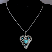 H:HYDE Nice Shipping Hollow Out Heart Natural Stone Pendant Necklaces Fashion Jewelry Women's Sweater Chain Green Jewelry(China)