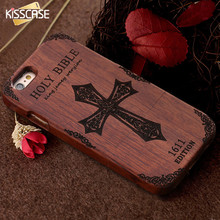 KISSCASE Retro Bamboo Wooden Case For iPhone 6 6s Plus 5 5s SE Hard Wood Phone Case Cover Cross Cases For iPhone 6 6s 5 5s SE(China)