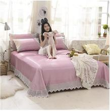 Pure color bud silk side summer air conditioningA three-pieceIce silk mattressThe bed skirt can be folded