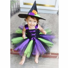 Moeble 2017 Baby Witch Costume Halloween Girl Tutu Dress Kids Fancy Clothing for Party Handmade Children Tulle Tutu Dresses