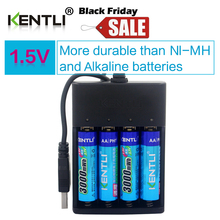 4pcs KENTLI AA 1.5V 3000mWh polymer lithium li-ion rechargeable batteries battery+4 slots USB li-ion battery charger(China)