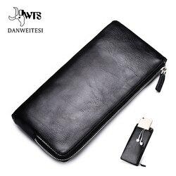 Мужское кожаное портмоне на молнии DWTS, длинный кошелек с отделениями для денег, кредитных карт, паспорта, качественный материал, стильный бу...