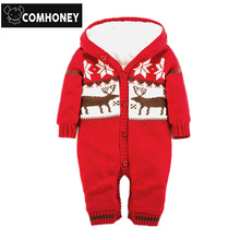 Winter Fleece Rompers For Baby Boys Girls Christmas Knitting Sweater Warm Overalls Bebe Jumpsuit Santa Claus Gift Baby Costume(China)