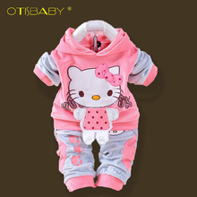 Official Store 2PCS Newborn Hello Kitty Baby Boy and Girl Clothes Hoodies + Pants Baby Clothing Set for Newborns Infantil Menina(China)
