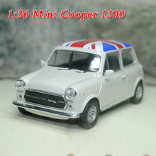 1/36 Scale Classical MINI COOPER 1300 (Britain Flag Edition) Diecast Metal Pull Back Car Model Toy New In Box For Gift