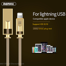 Remax USB Cable spring Steel wire of Zinc Alloy Cable Mobile Phone 2.1A Fast Charging Data Cable For iphone 5s 6 6S 7 Plus ipad