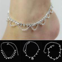 KUNIU Silver Diamante Crystal Rhinestone Adjustable Foot Chain Ankle Bracelet Anklet Jewelry