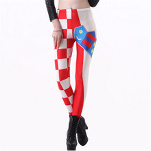 3D Spring and Autumn thin Star Digital Printing women slim skinny casual sexy leggings Flag of Croatia(China)