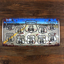 "SYF-A030 Free ship license plate car number""USA route 66 road"" vintage metal tin signs garage painting home decor plaque 15x30cm"