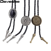Men Chain Man Made Leather Necklace Flower Indian Chief Cacique Eagle Rhinestone Bolo Tie Dance Rodeo Western Cowboy LUNM10(China)
