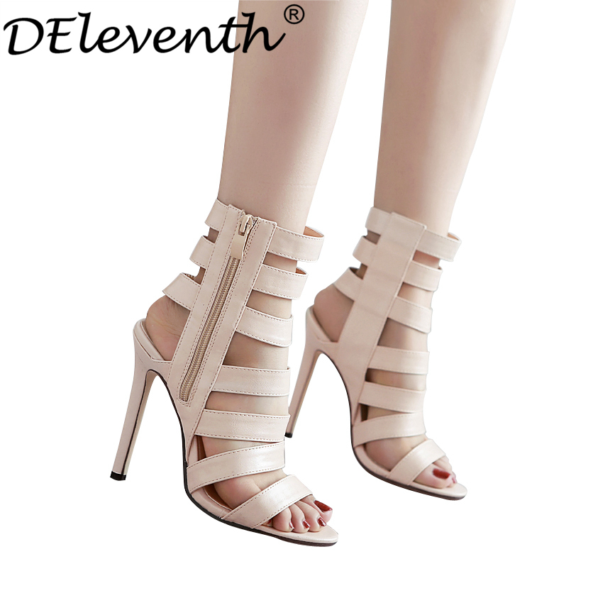 Hot Selling Rome Platband Cutouts Peep Toe High Heels Shoes Woman Sandals Fretwork Side Zipper Sexy Heeled Sandals Nude EUR40<br><br>Aliexpress