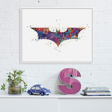 Original Watercolor Batman Logo Superhero Film Poster Print Abstract Shape Picture Wall Art Decor Canvas Painting No Frame Gifts(China)