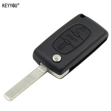 KEYYOU Remote Entry Key Fob Shell Case 3 Buttons for CITROEN C2 C3 C4 C5 C6 C8 With L0G0
