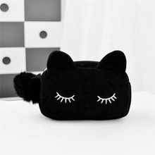 Hot Sale Beauty Cute Cat Cosmetic Makeup Bag Case Organizer Zipper Handbag Coin Purse Travel Toiletry Makeup Tool free shipping