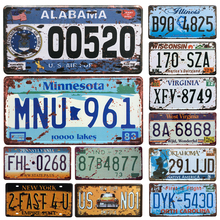 Hot United States Car License Metal Plate Car Number Tin Signs Bar Pub Cafe Decor Metal Sign Garage Painting Plaque Sticker(China)