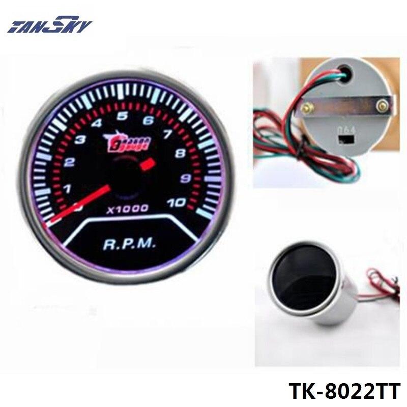 """TANSKT -Car Motor JDM 2"""" Inch 52mm Tachometer LED Smoke Tint Len Gauge Meter For Jeep Wrangler TK-8022TT"""