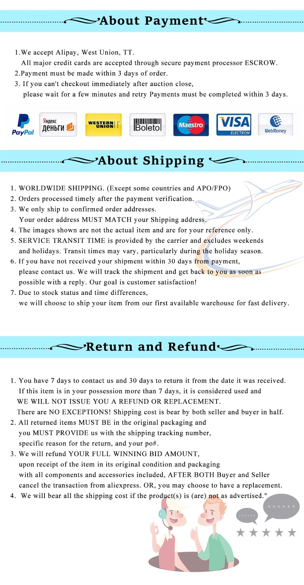 payment  shippment refund