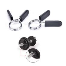 2Pcs 28mm Spring Barbell Gym Clip Weight Bar Dumbbell Lock Clamp Collar Clips gym equipment accessories Hole SIze 1.1""