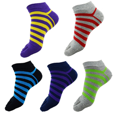 6Pair New Elegant Striped Men Toe Socks Male Casual Colorful Five Finger Socks Men Fashion Brand Short Cotton Ankle Socks Boat