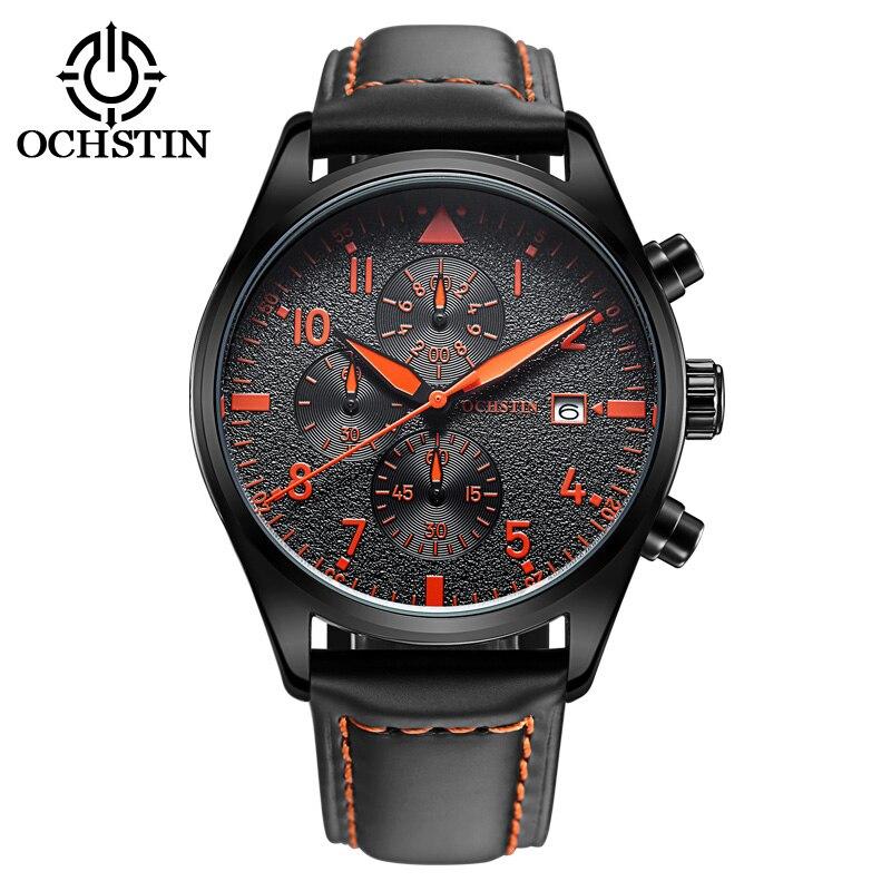 Men Quartz Wristwatches Fashion Genuine Leather strap Waterproof watch Stainless Steel Clasp Buckle Military Quartz  Watches<br>