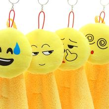 Lovely Emoji Pattern Super Absorbent Coral Velvet Household Hand Towel Bathroom Kitchen Cleaning Towel cute Hot Sale Soft