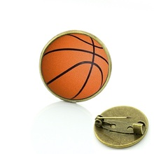 Wholesale Charm sport Basketball Art Picture pin football rugby volleyball golf Bowling Ball brooch competition badges gift T253