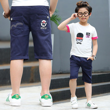 Summer Casual Boys Pants Knee Length Blue Cotton Patterns Boy Trousers 2017 Boys Clothes For 3 4 6 8 10 12 Years Old RKP174010