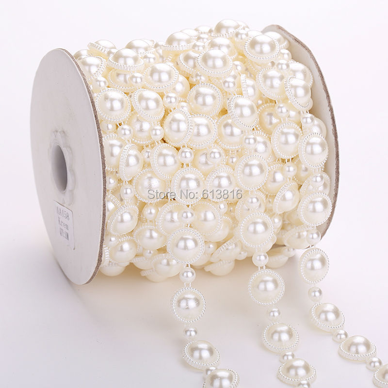 10m//roll Faux Pearl Beads String Trimming DIY Wedding Party Decor Supply 8mm