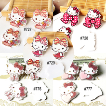 Kawaii cartoon Hello Kitty Figurine KT Cat  Home decoration flat back planar resin craft DIY hair Bow accessories brooch