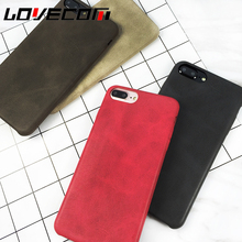 LOVECOM China Red Phone Case For iPhone 6 6S 7 Plus Luxury Elegant Soft Leather Solid Color Phone Back Cover Shell Capa Coque