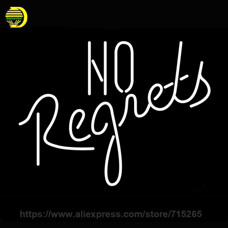 Neon Sign No Regrets Neon Light Sign On King Handmade Neon Bulb Light Glass Tube Lamps Publicidad Decoration Wall Room 17x14<br><br>Aliexpress
