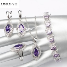 4PCS Women Wedding 925 Sterling Silver Jewelry Sets Sky Purple Stones Bracelet/Earrings/Pendant/Necklace/Ring Free Gift Box