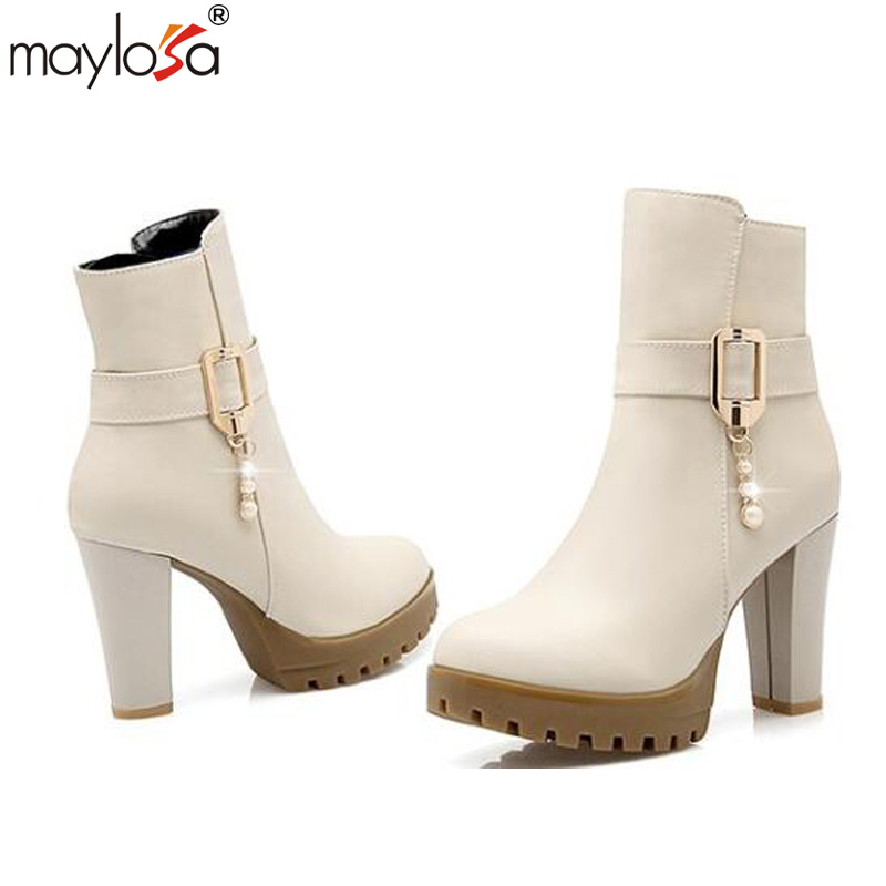 2017 new autumn and winter boots, female boots high heeled boots Martin short boots with thick shoes<br><br>Aliexpress