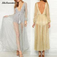 Long Womens Lace Evening Photography Dress beach wear Party mesh Prom See-through Dress women plus Size cheap clothes china