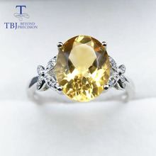 TBJ,100% 925 sterling silver with natural citrine oval 8*10mm for women,female rings,original fine jewelry with gift box