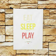 DUNXDECO 50X68cm Modern European Colorful Words EAT SLEEP PLAY Warm Home Cotton Table Placemat Napkin Bar Coffee Tea Towel Photo