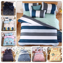 4pcs Bed Set Stripe Plaid Boy Girl Child 1.5m 1.8m 2.0m Full King Queen Twin Double Single Size Bed Sheet Duvet Cover Bedlinens(China)