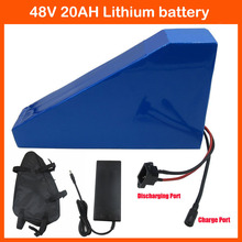 48V 20AH Triangle battery 1000W 48V Electric Bike battery 48V 20AH Lithium battery with bag 54.6V 2A charger Free Custom Fee