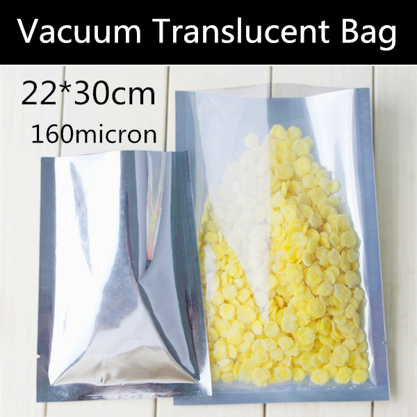 Wholesale 50pcs 22x30cm 160micron Large Heat sealed Vacuum Plastic Bag Translucent Vacuum Snack/Candy/Gift Bag(China)